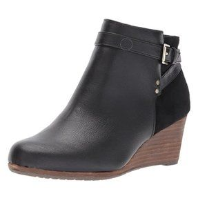 Dr Scholls Black Wedge Ankle Boots Booties 9.5 W